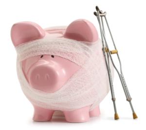 Troubled-Finances-Buget-broken-piggy-bank-on-sick-leave