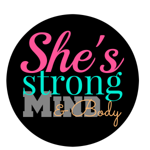 shes strong logo with black circle