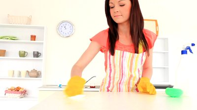 woman cleaning home
