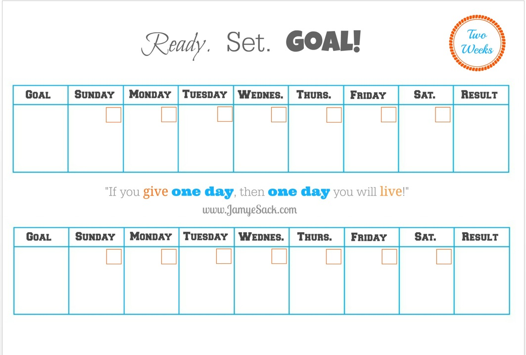 free printable two week goal calendar jamye sack. Black Bedroom Furniture Sets. Home Design Ideas
